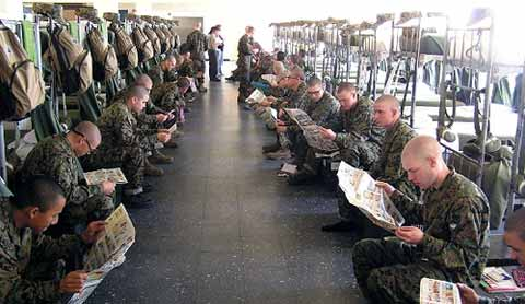 Solders gaining knowledge at Marine Corps Recruit Depot