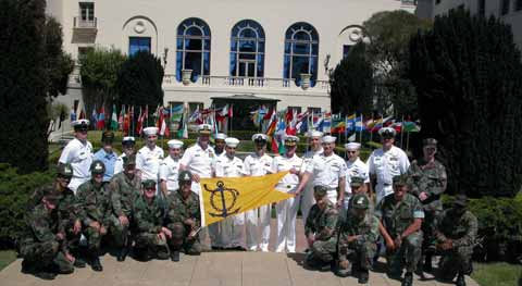Naval Postgraduate School Graduates at Front Entrance