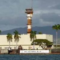 View from the coast to Naval Station Pearl Harbor