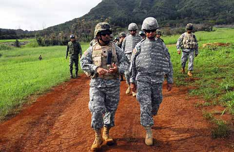 Soldiers prepared for battle near Schofield Barracks