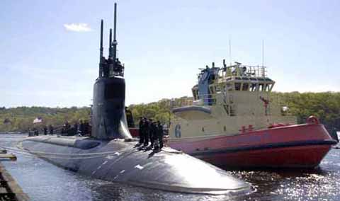 Military submarine and boat at New London Submarine Base