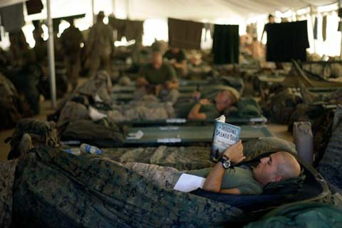 Soldiers rest at Camp Leatherneck