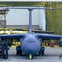 Planes comes out of hangar at Robins Air Force Base