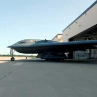 B2 bomber comes out of Whiteman AFB hangar