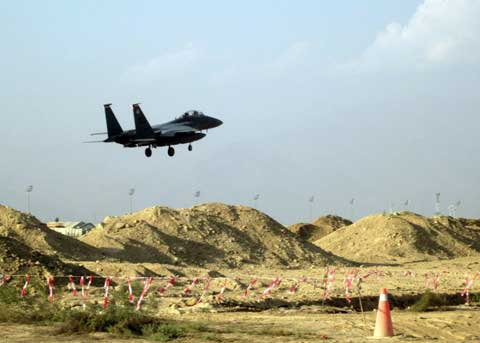 Shindand Airbase - f-15 lands