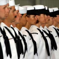 Soldiers standing in line at Naval Support Activity Souda Bay