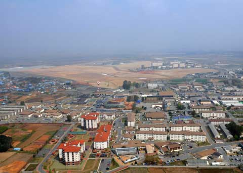 Camp Humphreys areal view in South Korea