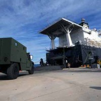Loading a military transport boat at Blount Island Command