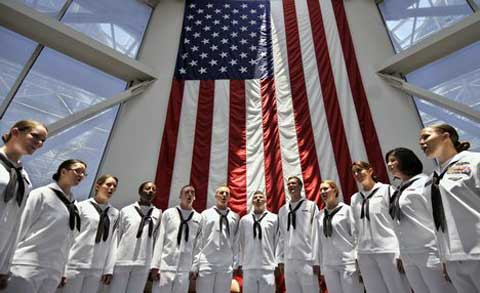 Corry Station Naval Soldiers at front of USA Flag