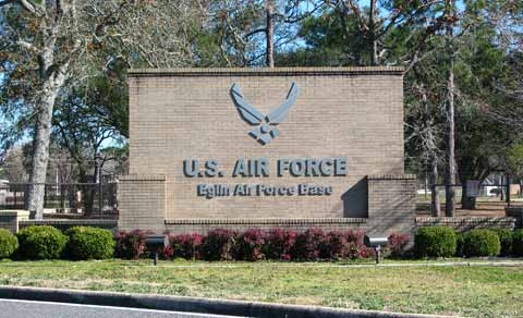 Eglin Air Force Base Sign At Front Entrance