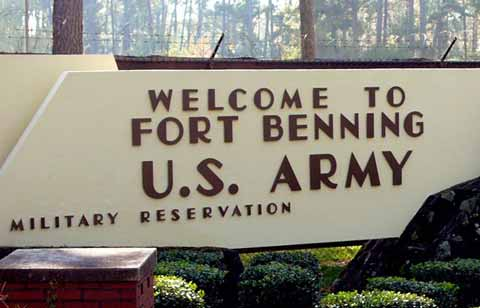 Sign in front pf Fort Benning main gate