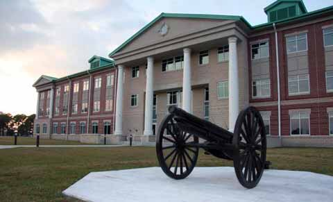 Fort Stewart Main Building and monument