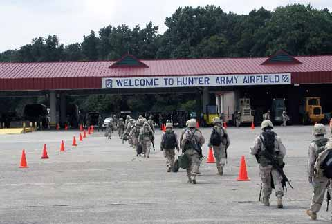 Soldiers entering Hunter Army Airfield