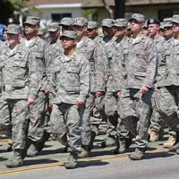 Soldiers marching on Los Angeles Air force base
