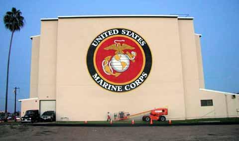 Huge Marine corps sign at Miramar base