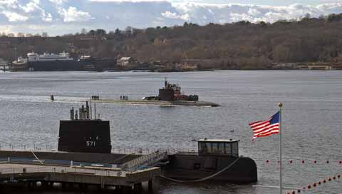 Military Submarine at Submarine Base New London
