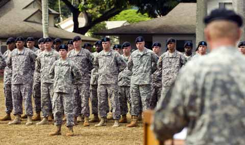 Soldiers listening commanders speech at Schofield Barracks