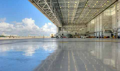 Jacksonville huge maintenance hangar interior