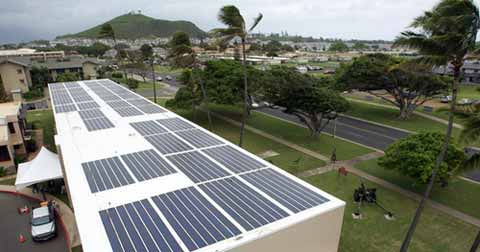 Solar panels on Marine base Hawaii