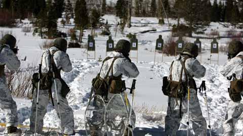 mountain warfare practice in snow