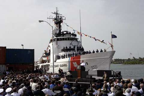 USCG boat at Integrated Support Command Cleveland