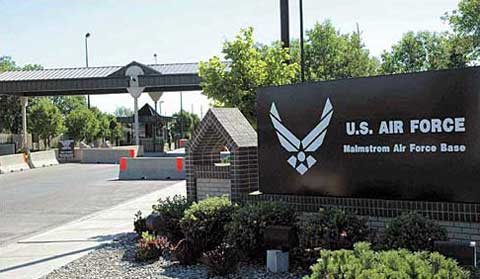 Sing at main gate of Malmstrom AFB
