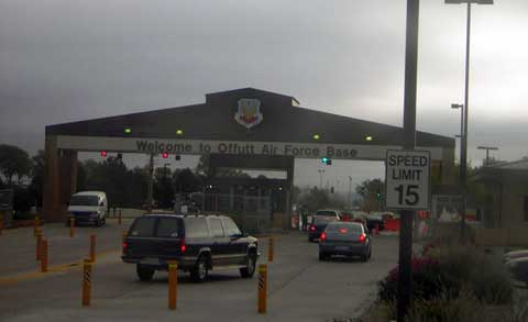 Sign and main gate of Offutt AFB