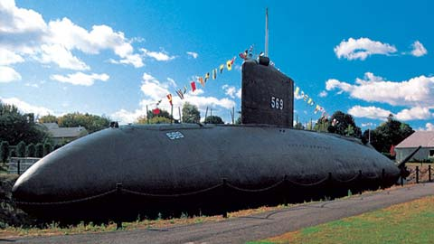 Submarine like monument at Portsmouth Naval Shipyard