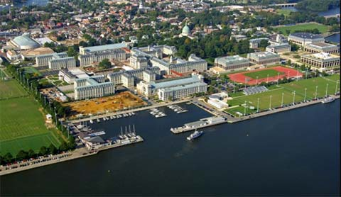 US Naval Academy Areal View From Coast