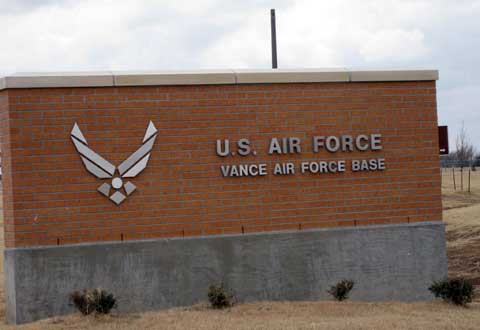 Sign of Vance Air Force Base