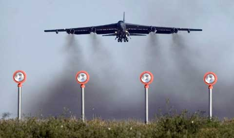 B52 lands on minot afb