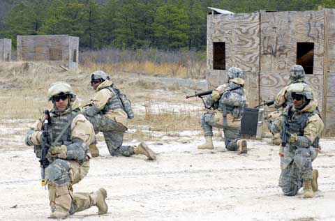 Soldiers practice at Fort Dix