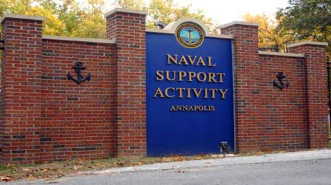 Mains sign at Naval Support Activity Annapolis