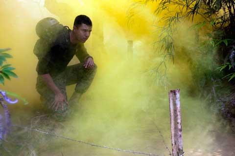 Deep smoke at Camp Gonsalves training facility