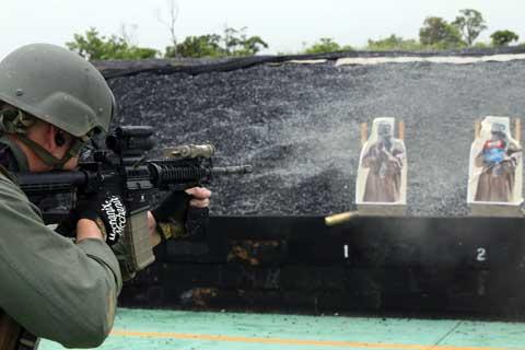 Shooting training at Camp Hansen