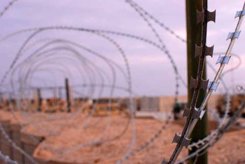 barbed wire at Combat Outpost Shocker