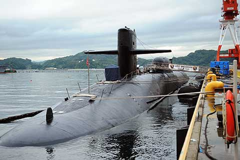 Submarine parked at Commander Fleet Activities Yokosuka