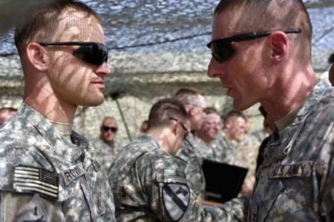Soldiers talking at Forward Operating Base Sykes