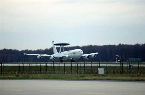Plane lands on Geilenkirchen Air Base Plane
