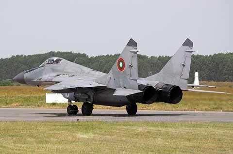 F15 lands at Graf Ignatievo Air Base