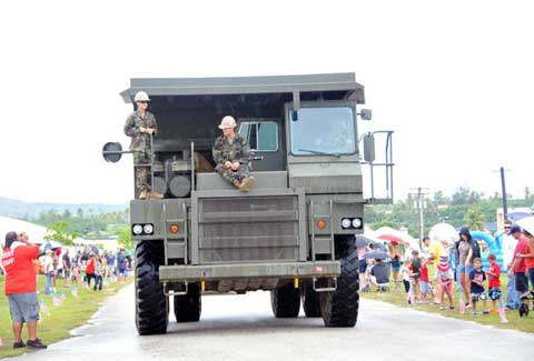 Military machine at one of the Joint Region Marianas