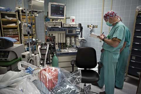 Surgeon in action at Landstuhl Regional Medical Center
