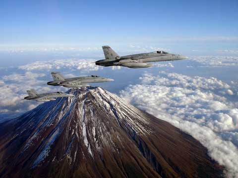 Military planes flies over MCAS Iwakuni
