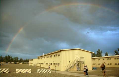 Rainbow appears at Manas Air Base