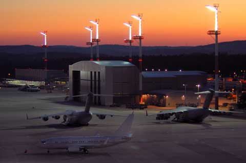 Aral view of Ramstein Air Base in night