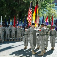 Soldiers with flags at USAG Darmstadt