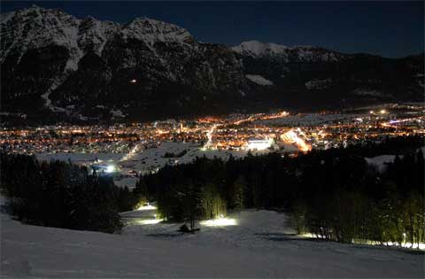 Areal view in night of USAG Garmisch