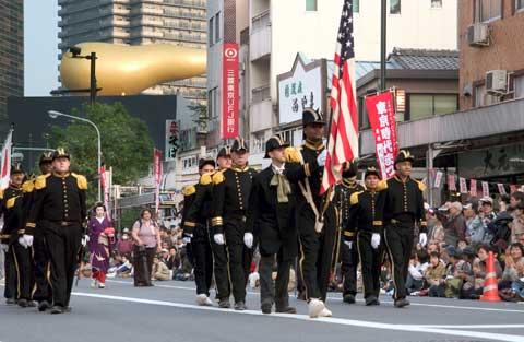 Sailors walking at city near Commander Fleet Activities Yokosuka