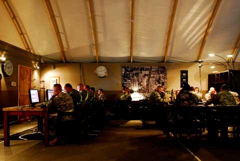 Interior of tent at Camp Virginia