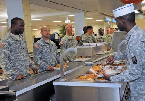 Soldiers taking meal at USAG Grafenwoehr